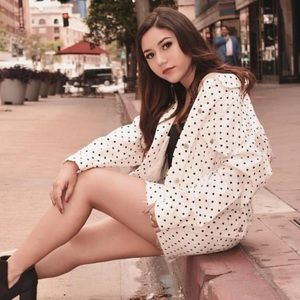 Top shop polka dot white denim jacket